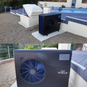 heat pump at pool side